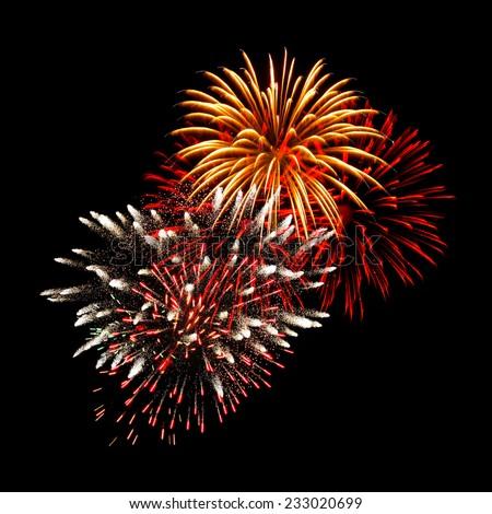 New Year celebration fireworks display - stock photo