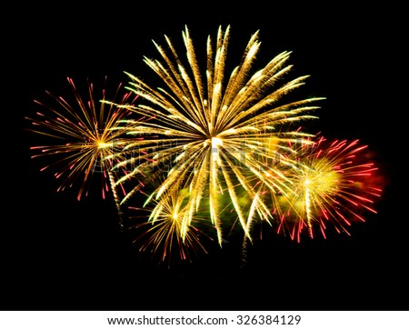 New Year celebration fireworks  - Vibrant color effect - stock photo