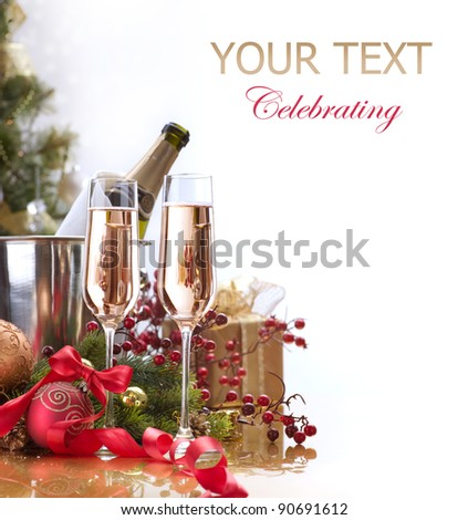 New Year Celebration. Two Champagne Glasses - stock photo