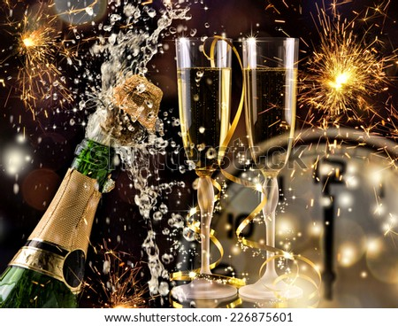 New Year Celebration  with champagne. - stock photo