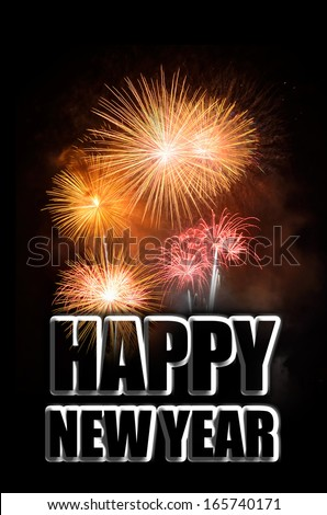 New Year celebration with fireworks - stock photo