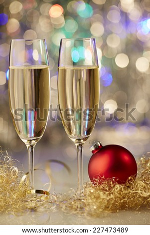 New Year champagne christmas romantic ball - stock photo