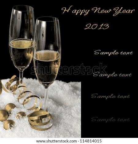 New Year champagne in the snow - stock photo