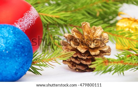 New Year, Christmas, cones, branches of a Christmas tree New Year's toys