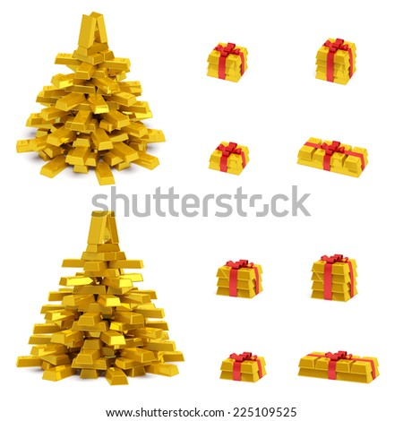 New Year (Christmas) creative concept (set). Christmas tree and gift boxes with red ribbon in the form of golden bars (ingots, bullions) as symbol of holiday, wealth, financial success and luxury - stock photo