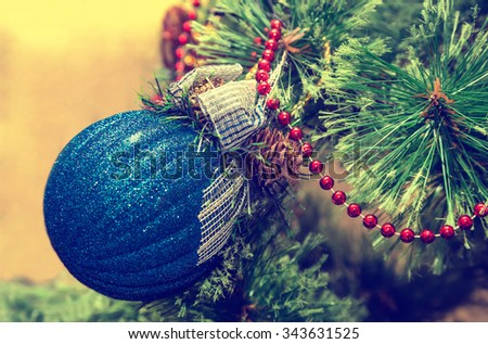 New Year, Christmas decorations on fir branches, Christmas toys, retro, vintage, old-style photo
