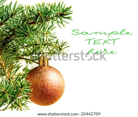 New year. Christmas. Tree decoration. Bow. Isolated. - stock photo
