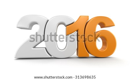 New Year 2016 (clipping path included) - stock photo