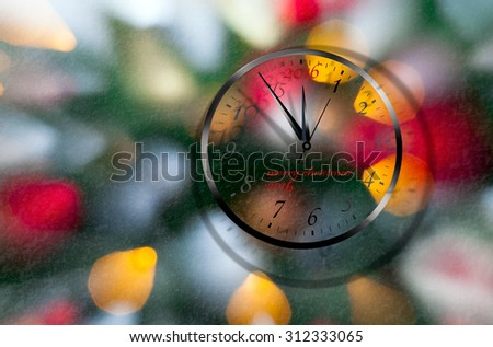 New year clock at midnight or christmas decoration  - stock photo