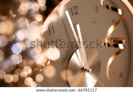new year clock before midnight - stock photo
