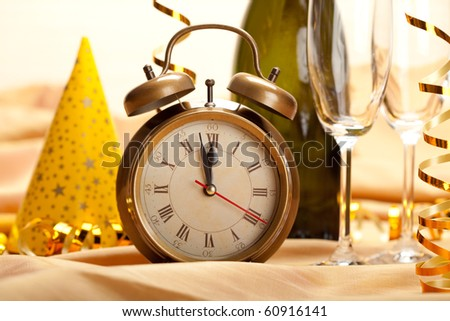 New year - clock face and decorations