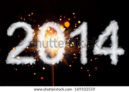 New Year 2014, cloud style digits with sparkler - stock photo