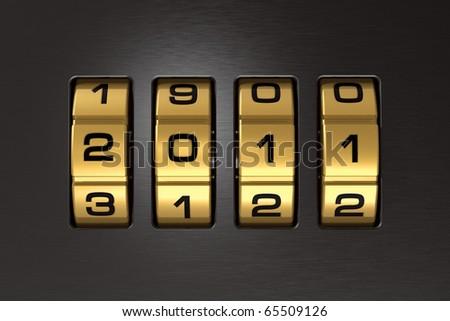 New Year 2011 code lock - stock photo