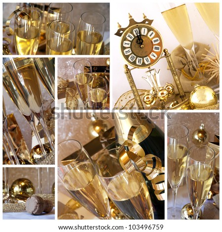 New year collage. Clock, champagne, candle, golden balls and ribbon  - collage or collection - stock photo