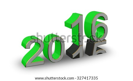 New Year 2016 - colored 3D numbers on a white background