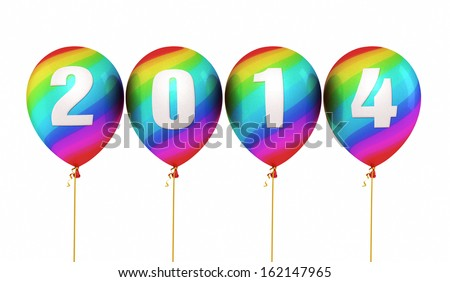 New Year 2014 Colorful balloons render (isolated on white and clipping path)