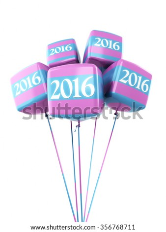 New year 2016 Colorful cube balloons (isolated on white and clipping path) - stock photo