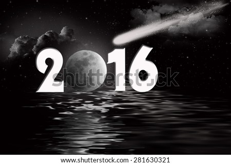 new year 2016 comet and full moon with black water reflection - stock photo