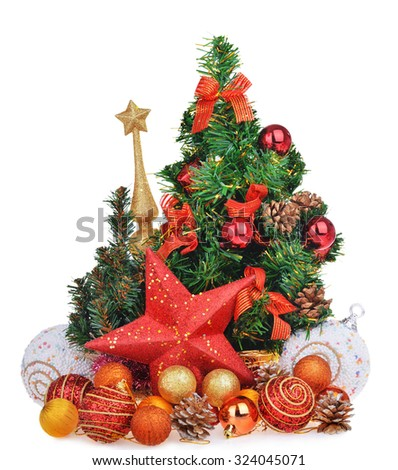 New year composition with christmas tree toys and red star isolated over white background - stock photo