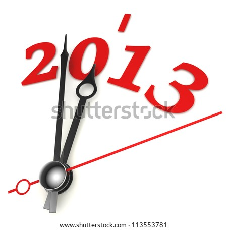 new year 2013 concept clock closeup on whte background - stock photo