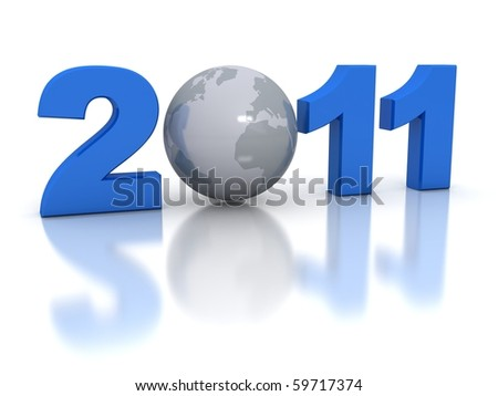 New Year 2011 concept. 3d rendered image - stock photo