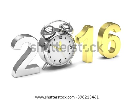 New year 2016 concept. 3D rendering.