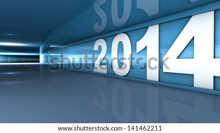New year 2014 concept in 3d - stock photo