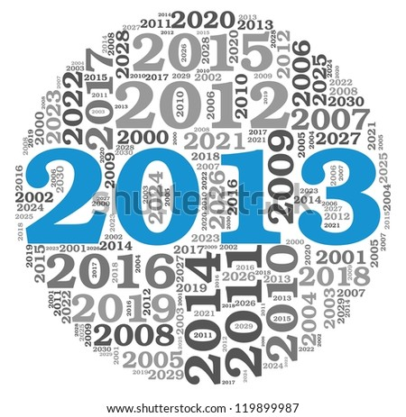 New year 2013 concept in number tag cloud on white background
