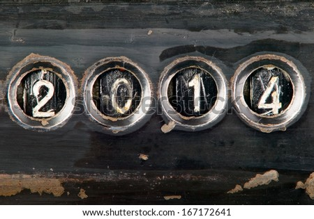 New year 2014 concept made from metal numbers - stock photo