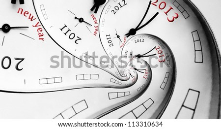 New 2013 year concept. Multiple spirals with numbers.