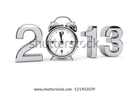 New year 2013 concept. 2013 steel sign with alarm clock on a white background