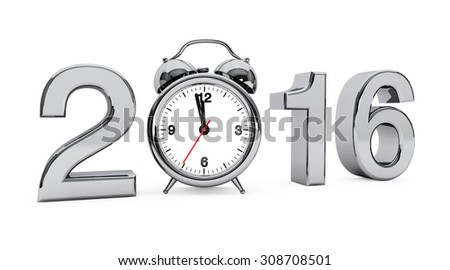 New year 2016 concept. 2016 steel sign with alarm clock on a white background