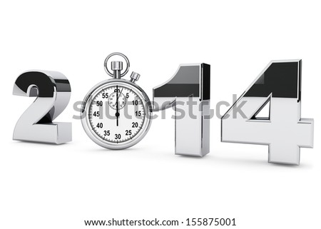 New year 2014 concept. 2014 steel sign with stopwatch on a white background