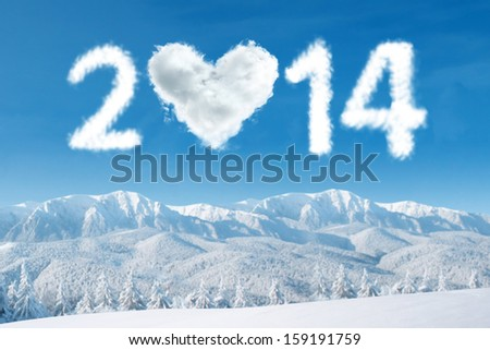 New year 2014 concept with heart shaped cloud - stock photo