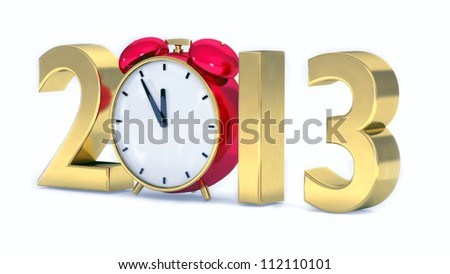 New year 2013 concept with red clock - stock photo