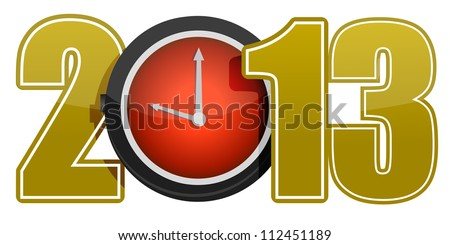 New year 2013 concept with red clock illustration - stock photo