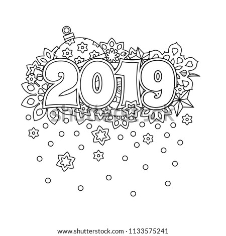 New Year Congratulation Card With Numbers 2019 On Winter Holiday Background Christmas Mandala Antistress