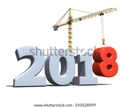 New 2018 year construction background with tower crane setting down red eight figure. 3D rendering.