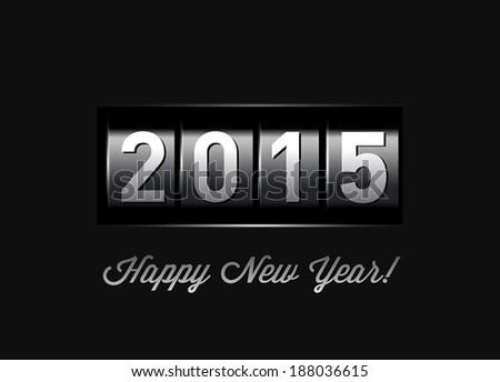 New Year counter 2015. IIllustration on black - stock photo