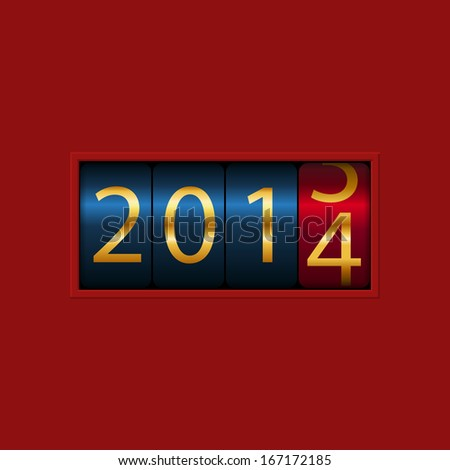 New Year counter, 2013, 2014. Isolated. Raster Version - stock photo