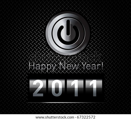 New Year counter 2011 on black metal pattern with power button - stock photo
