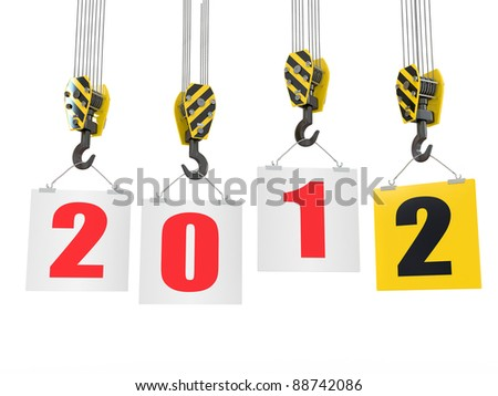 New Year 2012. Crane hooks with boards. 3d