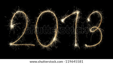 new year 2013 created a sparkler - stock photo