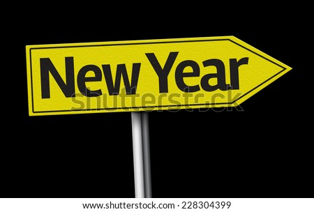 New Year creative sign on black background - stock photo