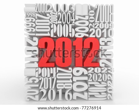 New year 2012. Cube consisting of the numbers. 3d - stock photo