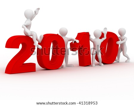 New Year. 2010. 3d - stock photo