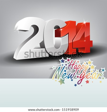 New 2014 year 3D greeting card, with space for text. Happy new year. (Raster) - stock photo