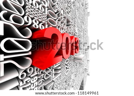 New year 2013. 3d of many year numbers. - stock photo