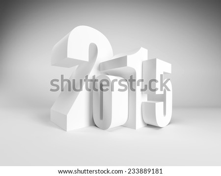 new year 2015, 3d render - stock photo