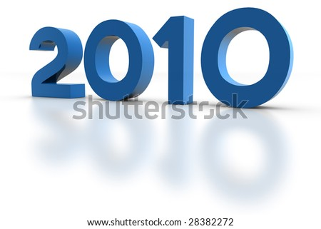 New Year 2010. 3D Render. - stock photo